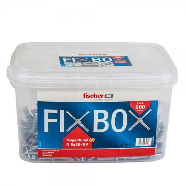 Fischer Nagelduebel 500 Stk N 6x35/5 F Flachkopf Fixbox