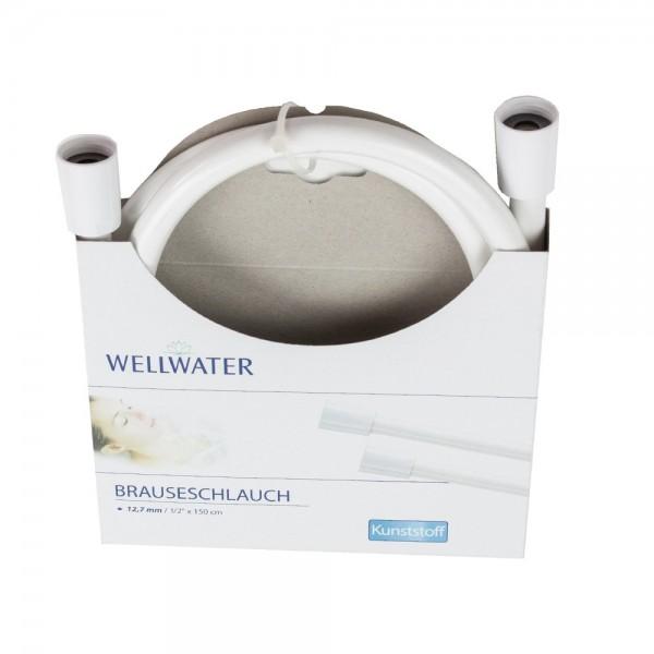 Brauseschlauch 12,7 mm / 150 cm Kunststoff Weiss Wellwater