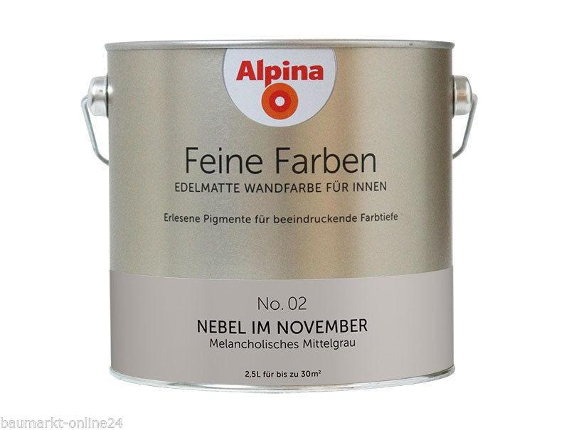alpina feine farben no 02 nebel im november 2 5 l wand und deckenfarbe ebay. Black Bedroom Furniture Sets. Home Design Ideas