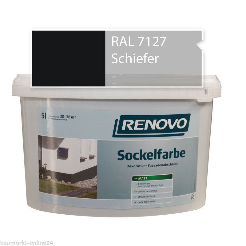 sockelfarbe 7127 schiefer 5 l fassadenfarbe renovo. Black Bedroom Furniture Sets. Home Design Ideas
