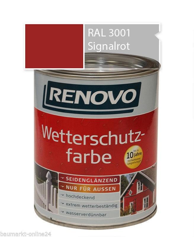 wetterschutzfarbe signalrot 750 ml ral 3001 renovo ebay. Black Bedroom Furniture Sets. Home Design Ideas