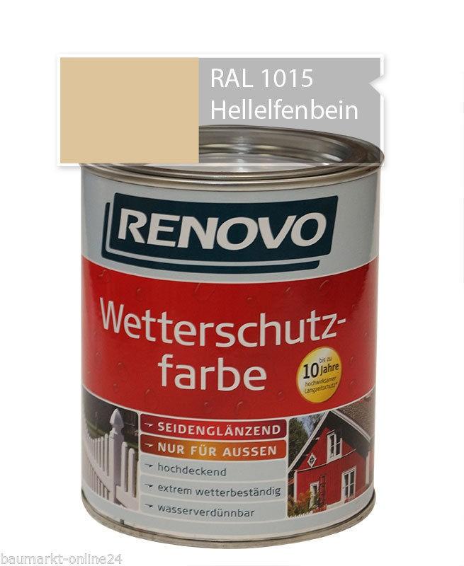 wetterschutzfarbe hellelfenbein 750 ml ral 1015 renovo ebay. Black Bedroom Furniture Sets. Home Design Ideas