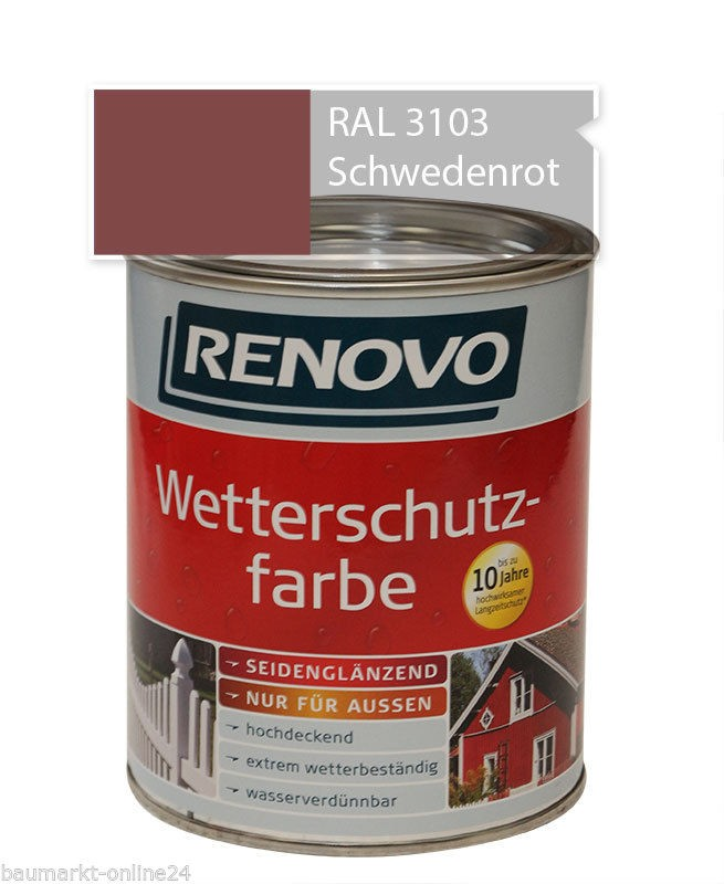 wetterschutzfarbe schwedenrot 2 5 l ral 3103 renovo ebay. Black Bedroom Furniture Sets. Home Design Ideas