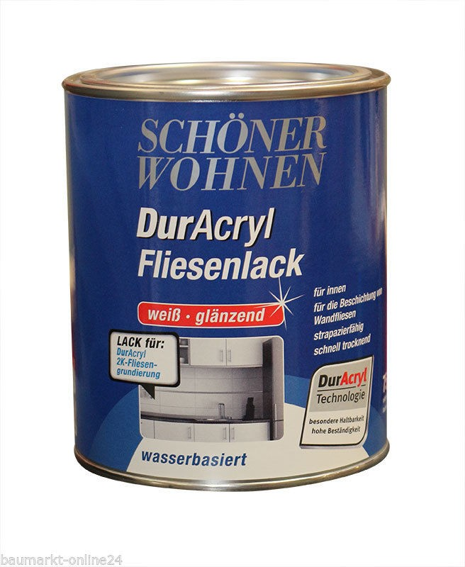 duracryl fliesenlack 750 ml wei sch ner wohnen 4006559273007 ebay. Black Bedroom Furniture Sets. Home Design Ideas